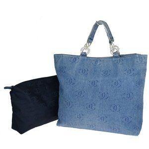 CHANEL CC Logo Chain Hand Tote Bag Denim Leather B